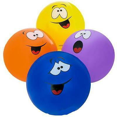 16 Inch Beach Ball (12 ASST COLOR INFLATABLE 16 INCH SMILE SILLY FACE BALL bounce beach inflate)