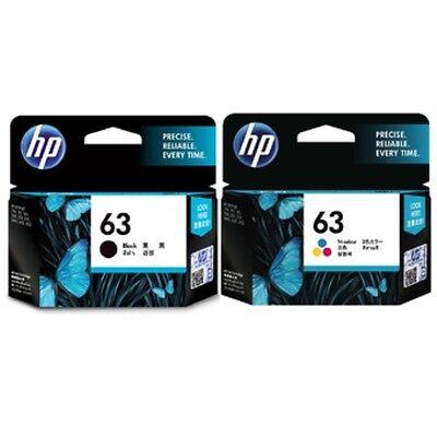 HP Genuine 63 Black + Color set of 2 Ink Cartridges EXP 2018