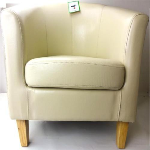 Tub Chair Cream Bonded Leather Armchair