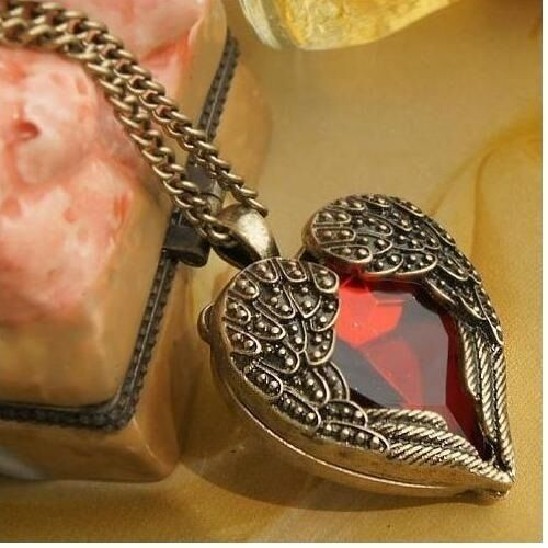 Wholesale Lot 8 Antiqued Brass Winged Heart Foil Backed Crystal Necklace Sets