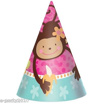 CONE HATS (8) ~ Birthday Party Supplies Favors Bananas (Monkey Love Party Favors)