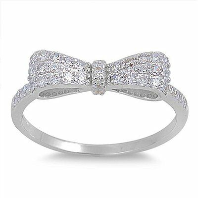 Cubic Zirconia Ribbon Bow Ring Sterling Silver