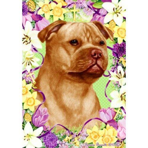 Easter House Flag - Orange Staffordshire Bull Terrier 33247