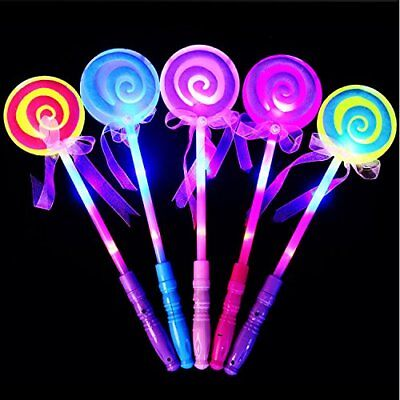 8 Pack Kids LED Light-Up Toy Lollipop Glow Sticks Girls Princess Flashing Wand