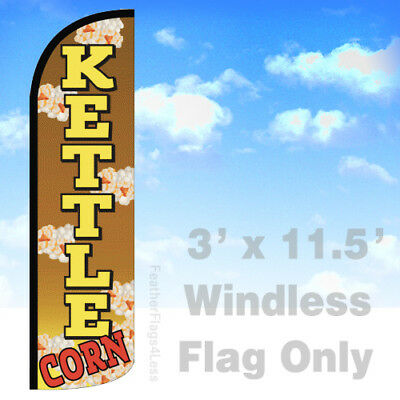 Kettle Corn - Windless Swooper Flag 3x11.5 Feather Banner Sign - Yq