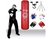 TurnerMAX Red Punching Bag Set Filled with free Inner Gloves, Chain and Ceiling Hook