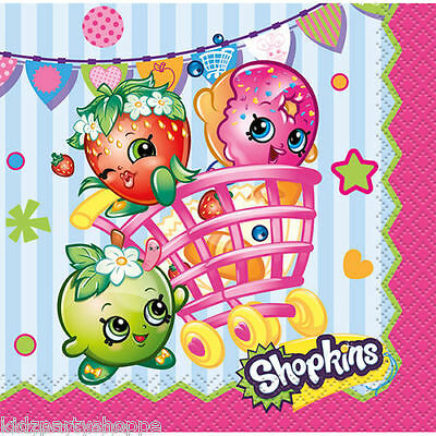 Dessert Buffet Supplies (SHOPKINS BEVERAGE Dessert NAPKINS Birthday Party Supplies Buffet)