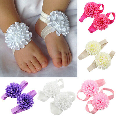 2x Baby Infant Toddler Girl Ribbon Flowers Barefoot Sandals Sock Toe Shoes Great (Barefoot Sock Sandals Baby)