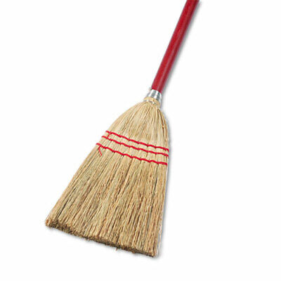 """Lobby/toy Broom, Corn Fiber Bristles, 39"""" Wood Handle, Red/yellow, 12/carton"""