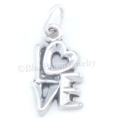 STACKED HEART in LOVE Charm Pendant Solid 925 Sterling Silver Bracelet Jewelry
