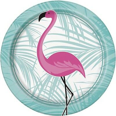SUMMER Pink Flamingo SMALL PAPER PLATES (8) ~ Birthday Party Supplies Cake Beach ()