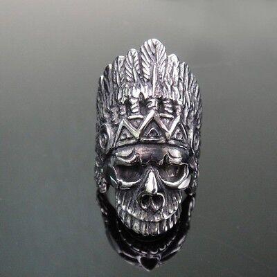 Indian Skull Badass Silver Ring for Harley Davidson Motor Chopper Biker TR135