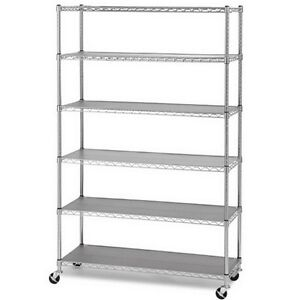 6 Layer Shelf Adjustable Steel Wire Metal Shelving Rack