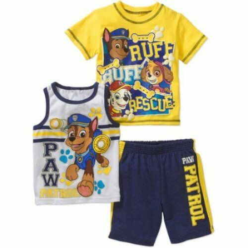 Nickelodeon Paw Patrol 3 PC Short Sleeve Shirt Shorts Outfit Set Boy Size 5T