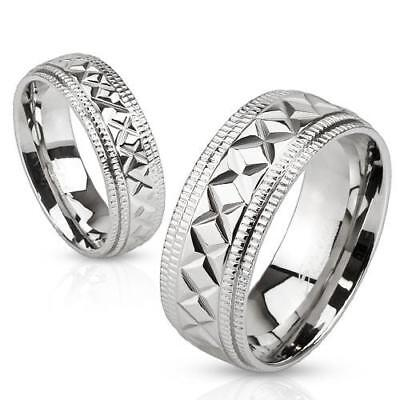 316L STAINLESS STEEL RING WITH MILGRAINED EDGES AND X SHAPED DIAGONAL (Gold Milgrained Edge)