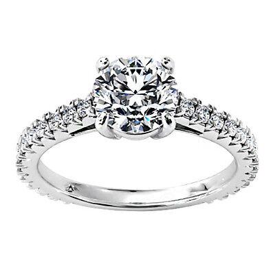1 CT D/VS Round Cut Enhanced Solitaire Diamond Engagement Ring 14k White Gold