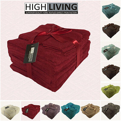 LUXURY 10 PCS TOWEL BALE SET 100% PURE EGYPTIAN COTTON FACE, HAND, BATH TOWELS