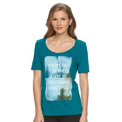 Life Is Good Ladies  Graphic Short Sleeved Tee  New In Package Teal Small