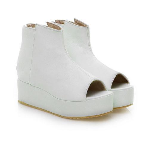 white platform wedge boots ebay