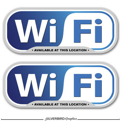 2x Wifi Available Sticker Decal Window Business Office Door Store Vinyl Internet