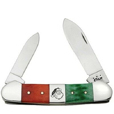 CASE XX KNIVES GREEN RED BONE CHRISTMAS KNIFE MINT CANOE #65101 USA SALE