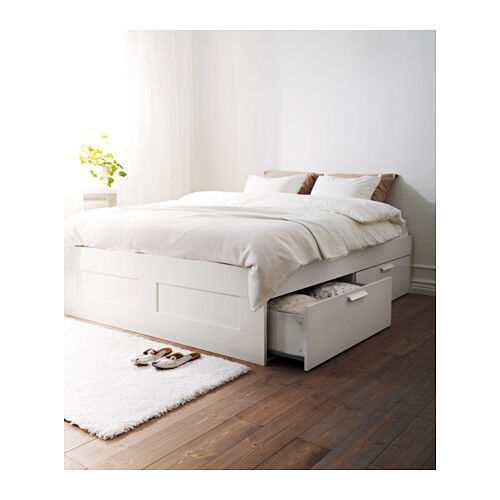 Superking Size White Double Bed Ikea Brimnes With Storage Drawers