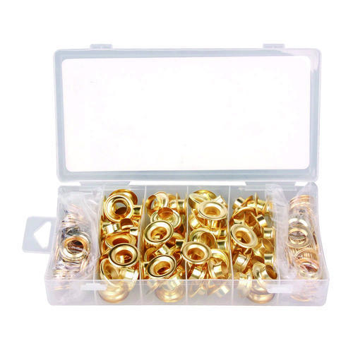 """New 200 Piece 1/2"""" Brass Plated Replacement Grommets, With Plastic Storage Case"""