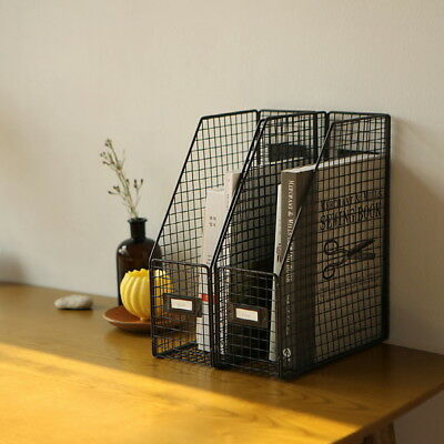 Wire File Folder Organization Decorative Document Stand Book Desk Rack Office