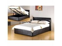 GUARANTEED DISCOUNTED PRICE // DOUBLE OTTOMAN STORAGE LEATHER BED WITH MATTRESS & FREE DELIVERY