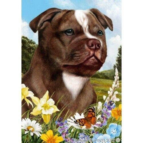 Summer House Flag - Chocolate Staffordshire Bull Terrier 18244