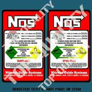 NOS NITROUS BOTTLE DECAL X2 STICKER SET REPLACEMENT HOT ROD DRIFT RALLY STICKERS