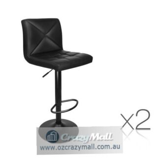 2 pcs Sturdy Deluxe PU Leather Bar Stools L-shaped Seat