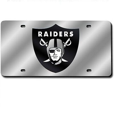 Oakland Raiders Mirrored Laser Cut License Plate Laser -