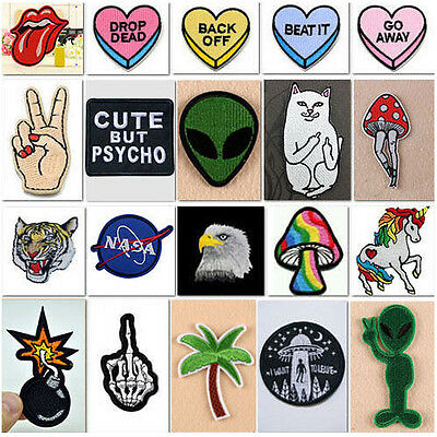 HOT Embroidered Iron On Sew On Patches Set Badge Bag Fabric Applique Craft
