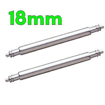 2 x Stainless Steel Watch Strap Spring Pins Bars 18mm