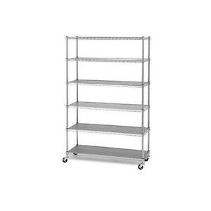 new wire 6 shelf shelving unit with casters 48 x 18 x 72. Black Bedroom Furniture Sets. Home Design Ideas