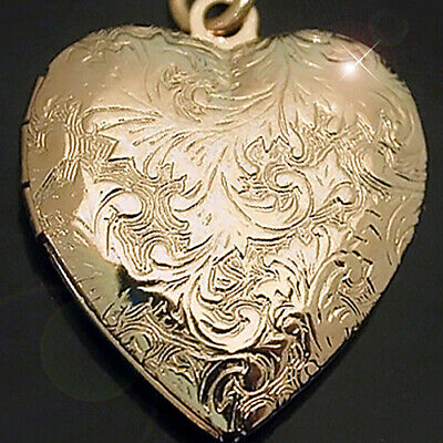 Hand Engraved Heart - 14k Gold GL HEART LOVE Hand Engraved Opening Pendant Locket   LIFE GUARANTEE