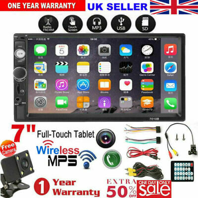 """7"""" Car Stereo Double Din Full Touch Screen Radio Audio MP5 Player FM+Camera UK"""
