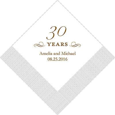 30th Anniversary Decorations (100 Printed 30th Anniversary Birthday Cocktail)