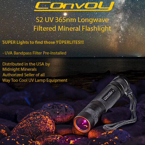 UV Flashlight Way Too Cool CONVOY S2 BLACK 365nm Filtered Longwave LED Mineral