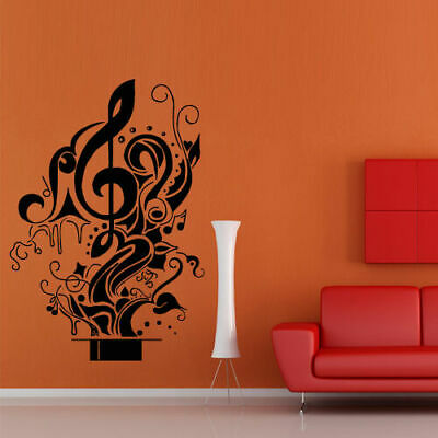 Wall Decal Note Hat Magic Illusion Cherry Music Song Relax Star decor -