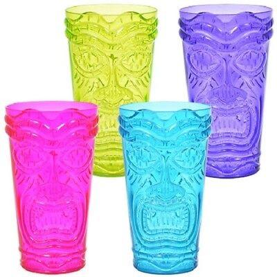 24 Colorful Plastic Tropical Tiki Cups Luau Party Tumblers Glasses 20 oz