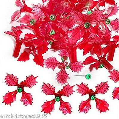 Vintage Ceramic Christmas Tree 25 Red Holly Poinsettia Shaped Bulb Lights ~RARE~