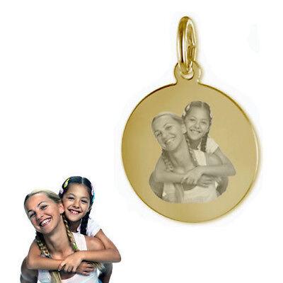 Gravur Platte mit  persönlichen Fotogravur- Echt Gold-333(8 Karat)-&Silberkette