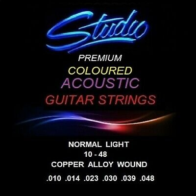 COLOURED ACOUSTIC GUITAR STRINGS - STUDIO PREMIUM STRINGS - NORMAL LIGHT 10-48