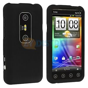 Black Hard Skin Case Cover for HTC Sprint EVO 3D Phone