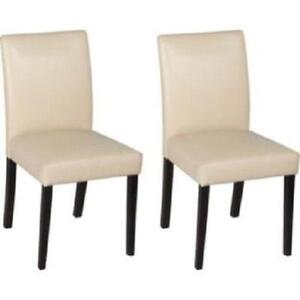6 Cream Leather Dining Chairs