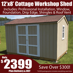 12'x8' Workshop Shed In A Day Bundle Special – Includes Install