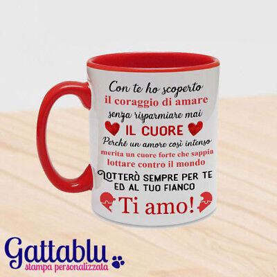 Tazza color dedica romantica san valentino lotterò per te, un cuore forte...