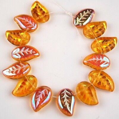 25 PCS Czech Leaf Topaz AB Pressed Loose Glass Beads Jewelry Craft Spacer 9x13mm Ab Leaf Czech Glass Beads